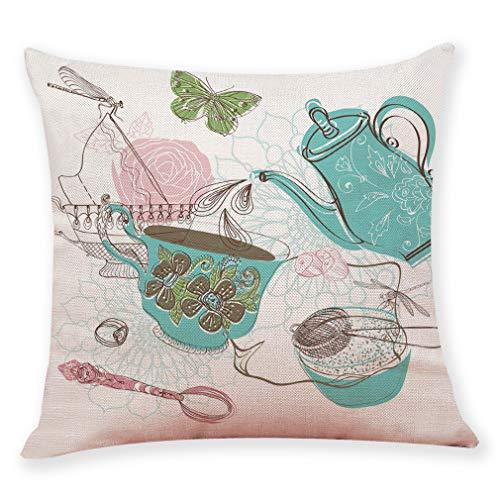 Zainafacai Decor 1PC Graffi Style Pillowcase- Coffee Cup Pattern Cushion Cover Throw Pillowcase Pillow Covers (I, One ()