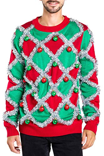 Men's Ornament and Garland Ugly Christmas Sweater - Green and Red Funny Tacky Tinsel Christmas Sweater: Large -