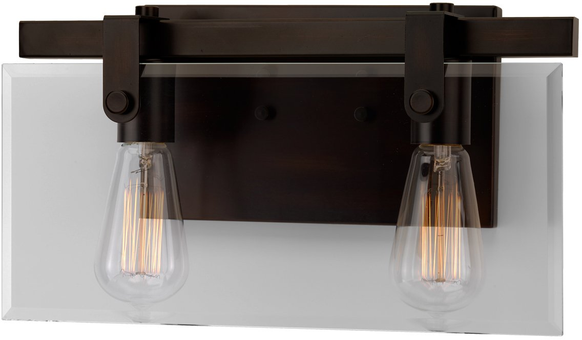 Luxury Modern Farmhouse Bathroom Vanity Light, Medium Size: 8.38'' H x 14.875'' W, with Industrial Chic Style Elements, Olde Bronze Finish, UHP2452 from The Bristol Collection by Urban Ambiance
