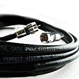 150ft Perfect Vision Solid Copper 3ghz 75 Ohm Coaxial RG-6 Directv, Dish Network, Digital Cable Tv Video Cable with Compression Rg6 Fitting