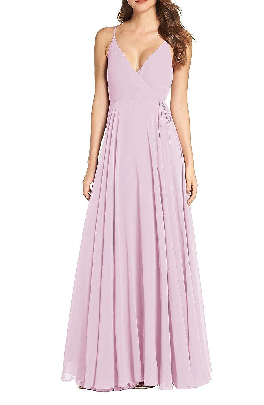 bluesh RTTUTED Women's V Neck Sleeveless Evening Dresses Long Prom Gown Bridesmaid Maxi Skirt