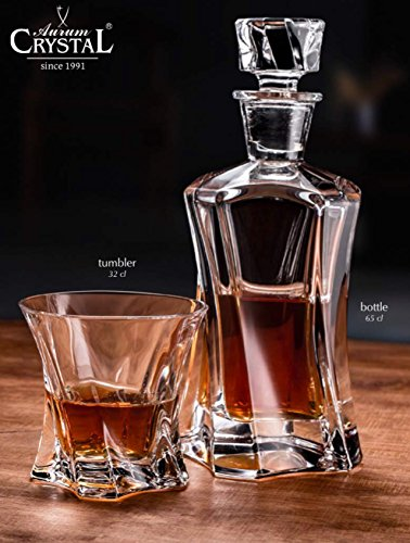 BOHEMIAN CRYSTAL GLASS WHISKEY SET 1+6 DECANTER 21oz. + 6 ROCKS GLASSES 10oz. HEAVY BASE OLD FASHIONED GLASSES BOURBON VODKA BRANDY SCOTCH ELEGANT CENTERPIECE SET CLASSIC CZECH CRYSTAL GLASS Bohemian Crystal Glass