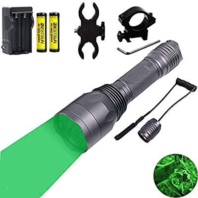 350 Yards Green Light LED Flashlight Predator Light Coyote Varmints Night Hunting Tactical Flashlights Set with Pressure Switch, Picatinny Rail & Scope Mounts, Spare Rechargeable Battery, Charger