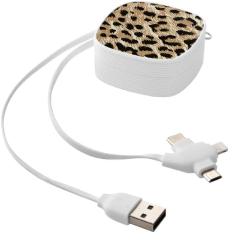 Cable USB Colorful Animal Leopard Print Multi 3 in 1 Retractable USB Cable Charger with Micro USB//Type C Compatible with Cell Phones Tablets and More