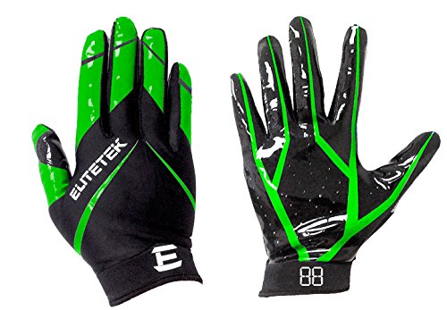 EliteTek RG-14 Football Gloves Youth and Adult (Neon Green, Youth L)