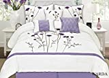Purple and White Bedding Sets Fancy Collection 7-pc Embroidery Bedding Off White Purple Lavender Comforter Set (Queen)