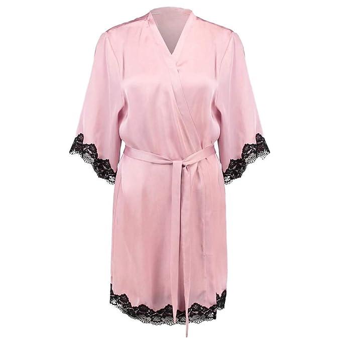 Laisla fashion Encaje Patchwork Bata Lencería Mujeres Seda De Boda Kimono Clásico Batas Camisón Noche Calentamiento Sche Bata De Baño Mujeres: Amazon.es: ...