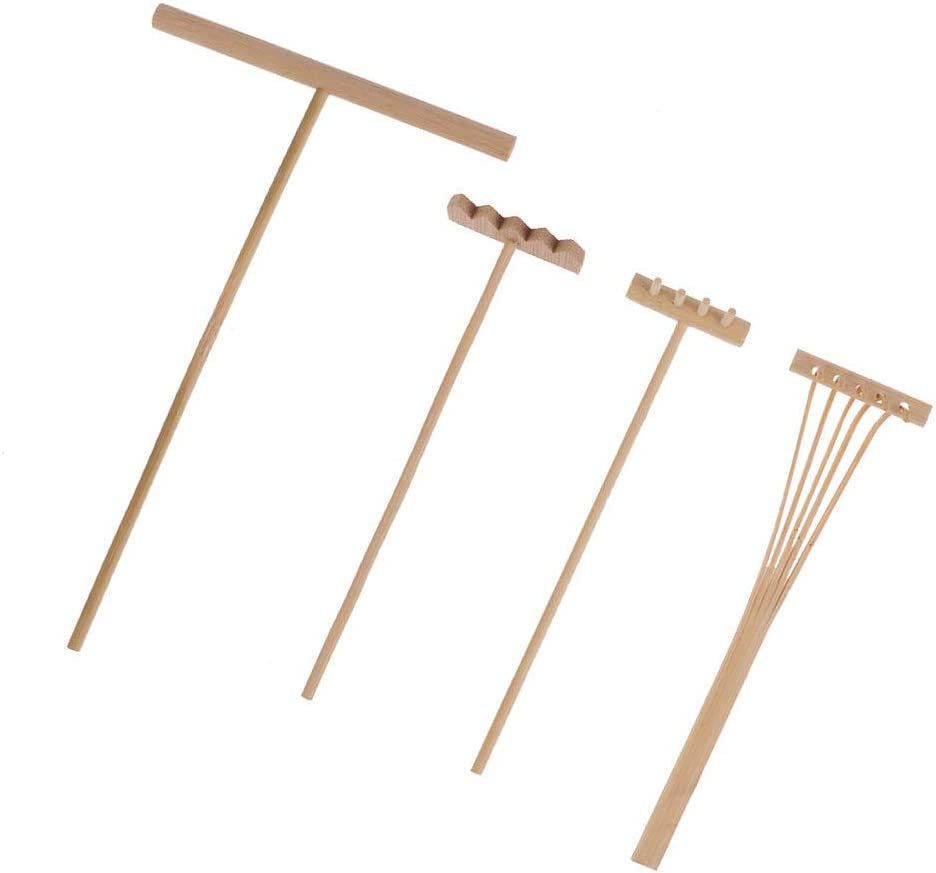 SUPVOX 4pcs Mini Zen Garden Tools Bamboo Rakes Sand Smoothing Push Rake Drawing Stylus Miniature Decoration