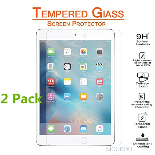 MouKou iPad Mini 4 Screen Protector 2 Pack Tempered Glass Screen Protectors for iPad Mini 4 - 2.5D Rounded Edges/ 9H Hardness Scratchproof/ Shatterproof/ Explosion Proof and Easy Installation