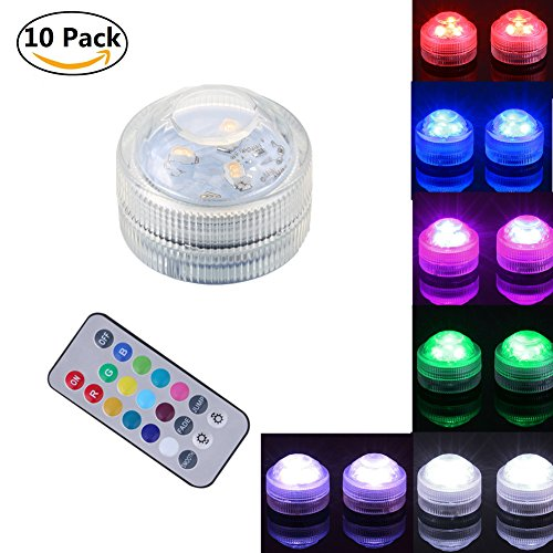 10Pcs Submersible LED Lights, Leagway Multicolor Waterproof Lights, Flameless LED Tea Lights with Remote Control for Party Vase Aquarium Pond Fountain Wedding Christmas Decoration (10Pcs(1 Remote)) by Leagway