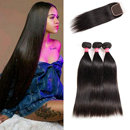 LONG YAO Brazilian Straight Virgin Hair 3 Bundles with Closure 4×4 Lace Closure with Bundles 100% Virgin Human Hair Extensions Weave weft Natural Color (16 18 20 W 14 Closure)