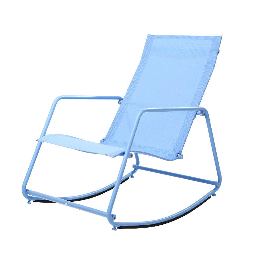 Mecedora Adulto Almuerzo en el Interior Moderno Minimalista Lazy Reclinable Balcón Fácil Silla Sala de Estar Nap Mecedora ( Color : Azul )