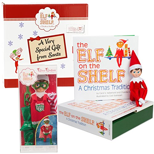The Elf on the Shelf Gift Set: Boy Elf With 2017 Superhero Outfit - In Special North Pole Gift Box by The Elf on the Shelf