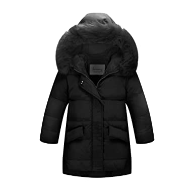 be27457a7 Amazon.com: Ding Dong Kid Girl Winter Hooded Fur Down Parka Coat ...