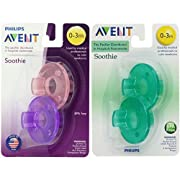 Philips Avent Soothie Pacifier, Pink/Purple and Green, 0-3 Months, 4 count