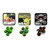 Mega Marbles Legends Themed Set 3-Pack with Dragon, Trolls and Pirates - 75 Colorful Glass Marbles - Each Net Includes 1 Shooter and 24 Players