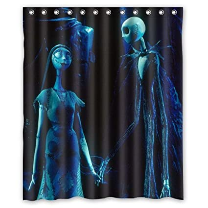 jack and sally nightmare before christmas shower curtain 60