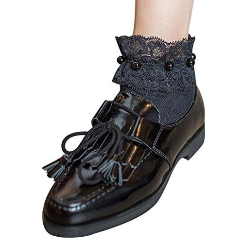 Donne Calze A Rete, Ragazze Inkach Volant Calze A Rete Alla Caviglia Calze A Rete In Maglia Di Perle Di Pesce Calze Corte Nere