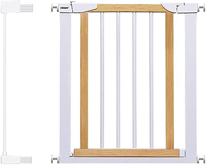 H.yina Baby Gates Puertas metálicas para Perros con Puerta peatonal de Madera, Puertas para bebés con Montaje a presión para escaleras, 65-79 cm de Ancho, 74.5 cm de Alto (tamaño: 72-79 cm):