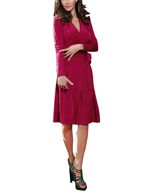 HaiDean Mujer Vestidos De Fiesta Elegantes Modernas Casual por La Rodilla Vestido Manga Larga V Cuello Vendaje Color Sólido Otoño Invierno Vestidos De ...