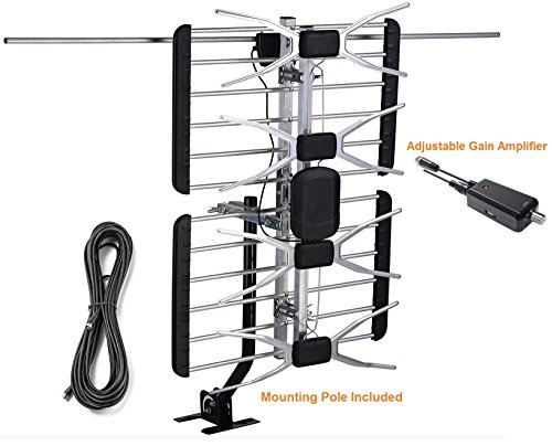 McDuory Digital Amplifier Outdoor HDTV antenna, 150 miles with mounting pole, Tools free installation, VHF/UHF Roof Mount Tower