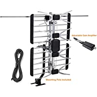 McDuory Digital Amplifier Outdoor HDTV antenna, 150 miles with mounting pole, Tools free installation, VHF/UHF