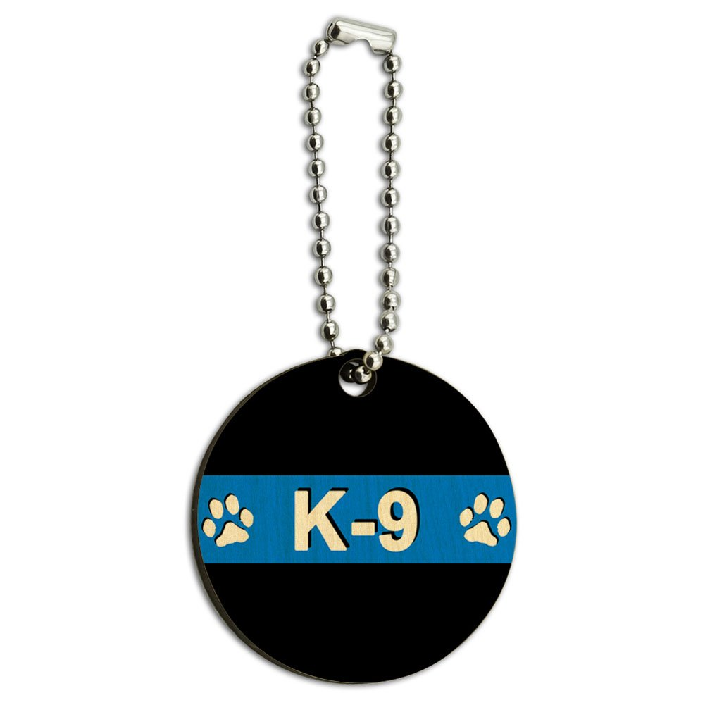 Thin Blue Line K-9 Unit Paw Prints Police Wood Wooden Round Key Chain