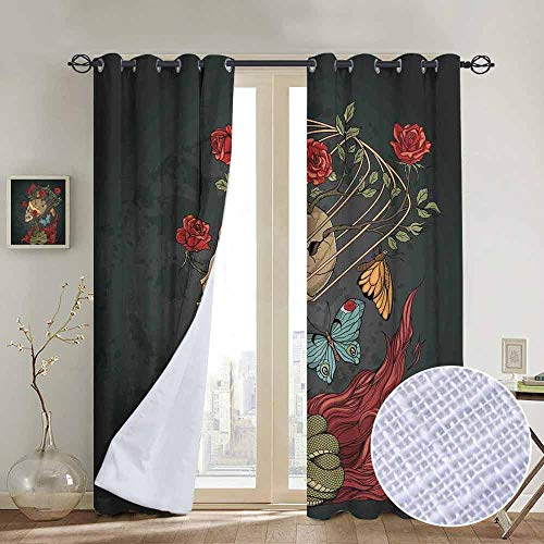 NUOMANAN Curtains for Bedroom Skull,Evil Mexican Sugar Skeleton with Kitsch Bush of Roses Snake and Butterfly Artwork,Ruby Dark Grey Curtain Panels for Bedroom & Kitchen,1 Pair 52