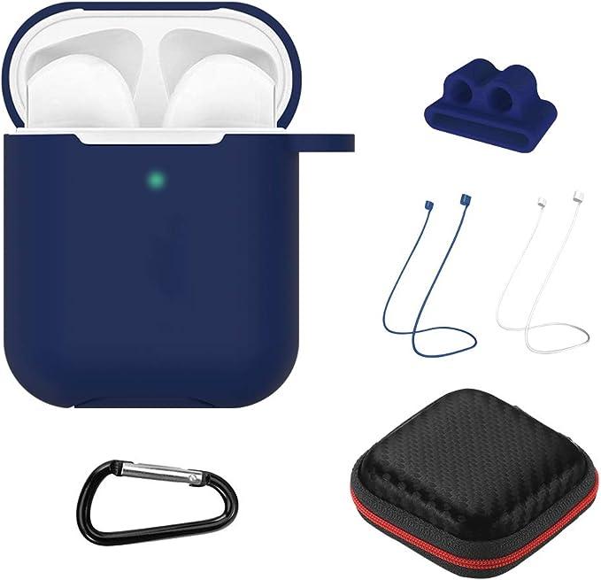 GeeRic Funda Compatible para Airpods 2,(LED Visible) 8en1 Auriculares Silicona Sport Strap Estuche Auriculares Carga Funda Compatible con Airpods2 Azul Oscuro: Amazon.es: Electrónica