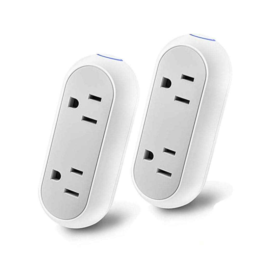 WiFi Smart Plug, 10A Mini Dual Smart Socket with Energy Monitoring for Amazon Echo, IFTTT and Google Assistant, Voice Control, No Hub Required (Android/IOS) (Two Packs)
