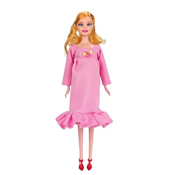 fiaya niña Real embarazadas muñeca Barbie con vestido y mamá muñeca a tener un bebé en