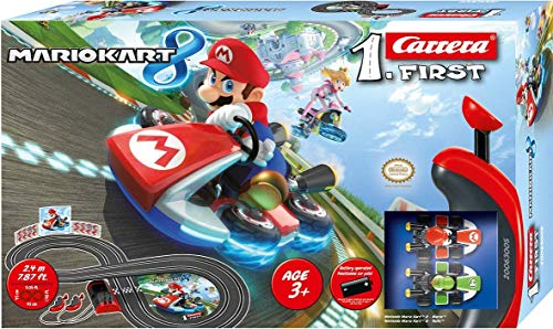 - Carrera First Nintendo Mario Kart Slot Car Race Track - Includes 2 Cars: Mario and Yoshi and Two-Controllers - Battery-Powered Beginner Set for Kids Ages 3 Years and Up