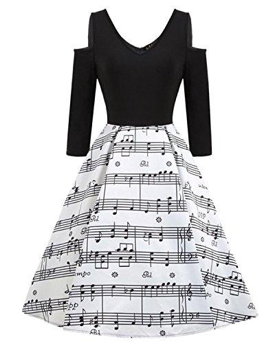 Tea Line (ZAFUL Women's 50s Vintage Sleeveless Music Notes Tea Dress Cocktail Party A-Line Midi Dress (2XL, Half Sleeve))