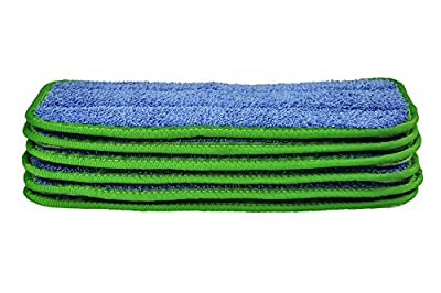 CleanAide All Purpose Twist Yarn Microfiber Mop Pads 10 Inches Green 6 Pack