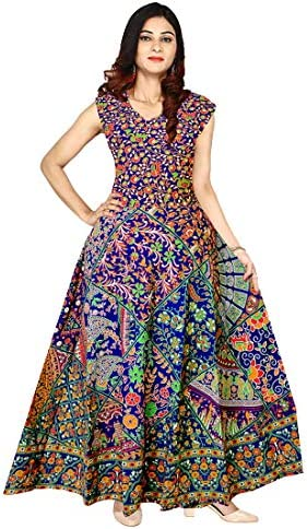 Afreet Fashion 100% Cotton Traditional Rajasthani Jaipuri Print One Piece Dress (Multicolour, Free Size)