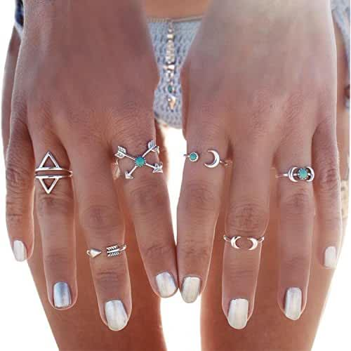 BeOne6PCS Fashion Vintage Turkish Arrow Moon Turquoise Joint Knuckle Nail Midi Ring Set