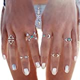 BeOne®6PCS Fashion Vintage Turkish Arrow Moon Turquoise Joint Knuckle Nail Midi Ring Set (Silver)
