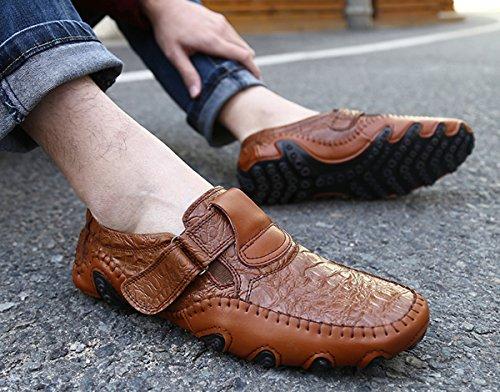 Shinysky Mens Läder Komfort Bilkörning Mjuka Lägenheter Halka På Loafers Tillfälliga Båt Skor Brun