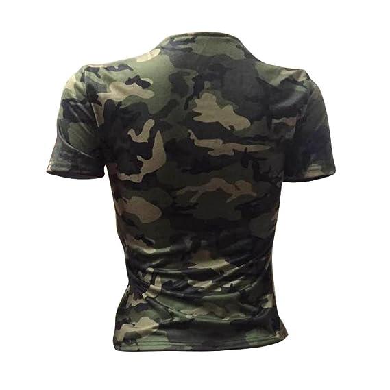 c591facbc QinMM Camiseta Slim Camuflaje Mujer