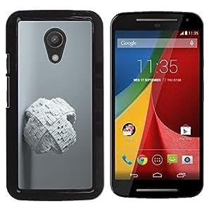 YiPhone /// Prima de resorte delgada de la cubierta del caso de Shell Armor - White Abstract Cube - Motorola MOTO G 2ND GEN II