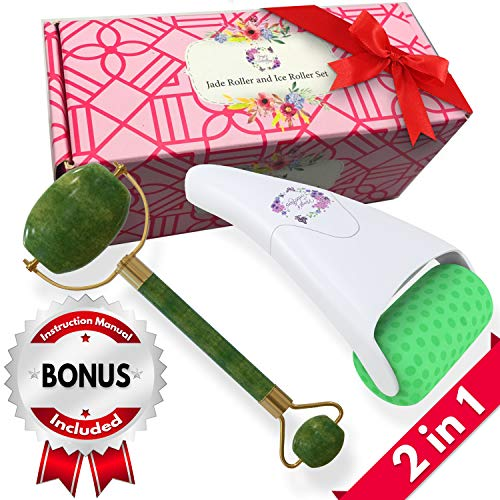Jade Roller and Ice Roller Facial Massager Set 100% Natural Double Neck Face Roller with Cooling Ice Roller for Healing & Slimming - Helps Reduce Puffiness, Redness, Migraine, Soreness and Pain ()