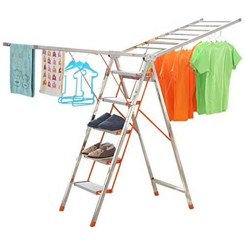 Step Ladder 4 Step, Metal Heavy Duty Multi-purpose Drying Ra