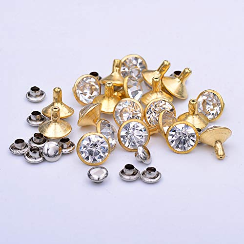 LQ Industrial 90 Sets 6/8/10mm White Crystal Gold Rapid Rivets Assortment Leather Craft DIY Fashion Rhinestone Nailhead Studs Punk Spikes Decorative Rivets