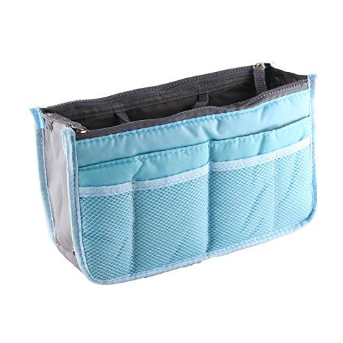Yihya Mujer Travel Viajar Organizador Organizadores Bolsos con Insertar Forro Tidy Múltiples Bolsillos Bolsa Mejor Diseño de Cosmética Monedero Purse Handbag --- Vino tinto Azul