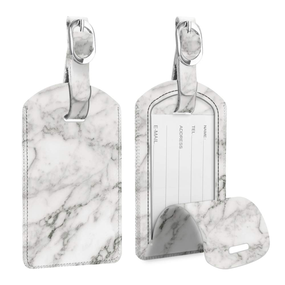 [2 Pack] Luggage Tags, Fintie Leather Name ID Labels with Back Privacy Cover for Travel Bag Suitcase, Marble White