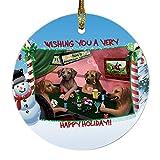Home of Rhodesian Ridgeback 4 Dogs Playing Poker Photo Round Christmas Ornament