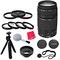 Canon EF 75–300mm f/4–5.6 III Lens & Accessories for Canon EOS Rebel T5, T5i, Sl1, T6, T6i, T6s, 7D Mark II, 70D, 80D, 6D, 5D Mark III Digital SLR Cameras - International Version (No Warranty)