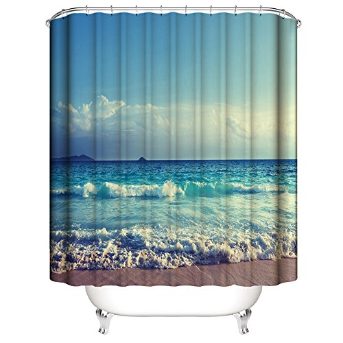 Ocean Waves Beach Waterproof Fabric Bathroom Shower Curtain, Blue Sky and White Clouds, Desert Island Sketch Pencil Drawing Lovely Aquatic Design - 72×72 Inch -