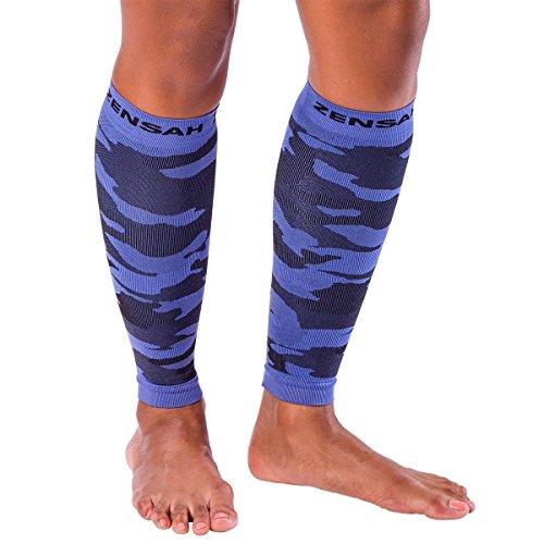 Zensah Camo Compression Leg Sleeves - Running Leg Sleeves - Shin Splints - Leg Sleeves for Basketball, Running, Jogging, Working Out, Tennis, Travel - Reduce Leg Cramping,M,Electric Purple Camo