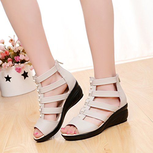 Femaroly Women's Wedges Comfortable Aged Leather Sandals Mother Beige Middle Shoes 66rq7w